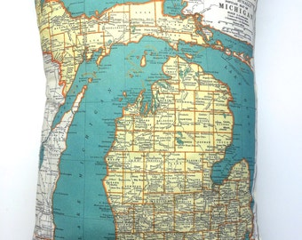 Michigan Pillow Designed from 1937 Vintage Map Pillow Cover with Pillow