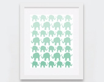 Mint Elephants Digital Print, Elephants Nursery Decor, Gender Neutral Baby Shower Gift, Mint Ombre Nursery Art Printable