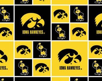 University of  Iowa Hawkeyes Collegiate Cotton Fabric 1 Yard Sports Team 100% Cotton