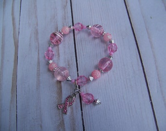 beaded breast cancer awarness  bracelet