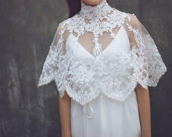 "Lace Bridal Cape, Custom Wedding Cover Up,Bridal Cover Up, Lace Bridal Bolero,Wedding Cover Up, Wedding Bolero, Bridal Bolero / ""Cape 106"""