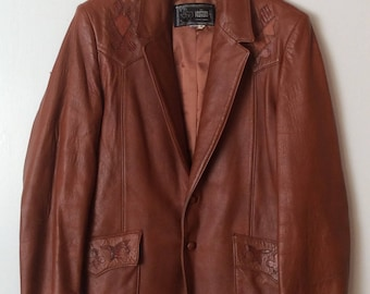 The Leather Factory Mens 48 Vintage Brown Leather Jacket Hand Tooled Accents