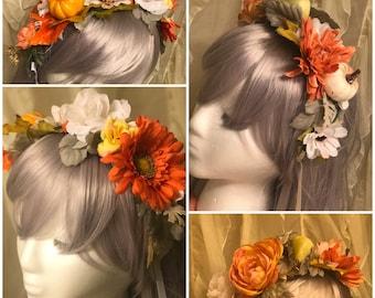 Autumn Crown, Fall Festival, Holiday headband, fall headband, fairy crown, led headpiece, light up crown, light up flower crown