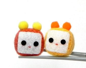 Amigurumi magnet - Orange and Yellow Cubie MochiQties - Crochet Amigurumi Mochi size mini cube doll