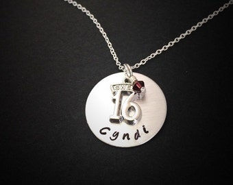 Personalized Sweet 16-Necklace hand stamped necklace Sweet 16 gift birthday necklace sweet 16 jewelry