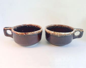 Vintage Brown Drip Soup Cups/Bowls Ovenproof USA 1960s