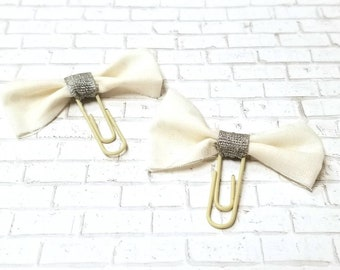 Silver and Beige Bow Clips - Tattered Bow - Planner Clips - Glam Accessories -  EmpressAnimal