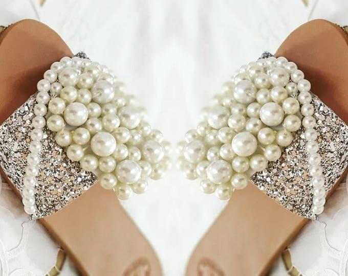 DHL FREE Greek sandals,pearls sandals,glitter sandals,handmade,embellished,slides,slidesandals,sparkly sandals,women's shoes,flats,,vintage