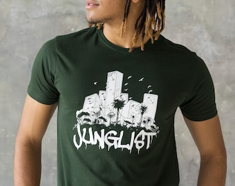 Junglist Sound System T Shirt - Jungle Massive Drum and Bass DJ & Synth Synthesizer 808 Music Neurofunk Producer Dubstep Graphic Printed Tee