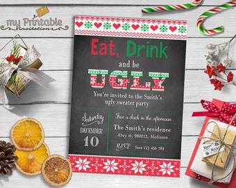 Ugly Sweater Party Invitation / Digital Printable Invite / DIY Party