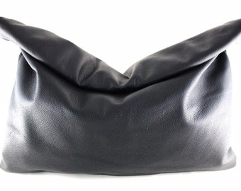 Color Me Roll-Down Leather Statement Clutch - MORE Colors | Oversized Clutch | Large Clutch | Cowhide | Handbag | Handmade