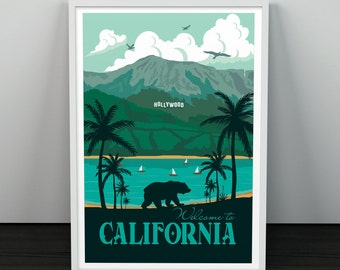 California Travel poster Landscape Los Angeles Hollywood Vintage wall art minimalism bear republic print