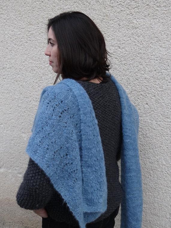 long mohair silk stole - lace wrap - wedding stole - handknit scarf - wedding wrap - mohair wrap - organic mohair & silk - something blue