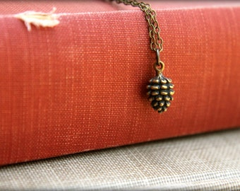 Tiny Pinecone Necklace in Aged Brass
