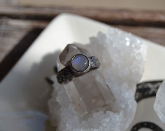 Rainbow moonstone flower ring - floral ring - size 7