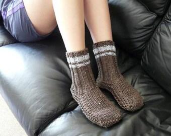 Cosy Brown Sheepskin and Wool Slipper Socks