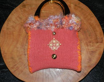 Hand Knit Pink, Orange and Lavender Felt Bag -Pretty in Pink