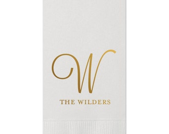 100 Personalized Guest Towels Dinner Napkins Wedding Hostess Gift  Monogram Monogrammed Custom Printed Paper Hand Towels