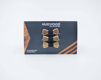 MINI wooden bow ties hair elastics - pack of 3 bow ties