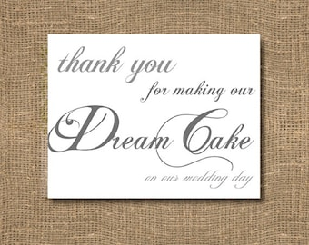 Thank You For Making Our Dream Cake On Our Wedding Day Card | Genuine Wedding Day Thank You | Beautiful Handwritten Look | Timeless |