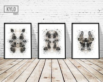 Rorschach Print set, Ink Blot Print, Abstract Poster, Abstract Print, Modern, Black and White, Home Wall Art, Minimalist Art, Ink Blot Art