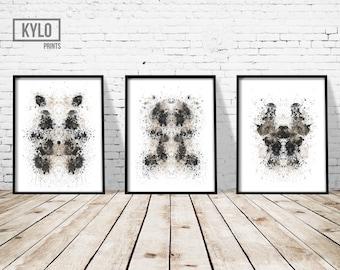 Rorschach Print set, Ink Blot Print, Abstract Poster, Abstract Print, Modern, Black and White, Home Wall Art, Minimalist Art, Ink Blot Art