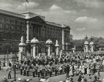 Changing of the Guard at Buckingham Palace vintage Print Black and white from photograph Vintage ephemera repurposed.