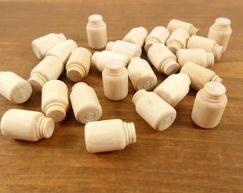 "Wood Mason Jars 5/8"" Miniatures - 25 Pieces"