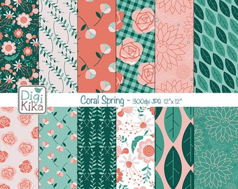 Coral Spring Digital Papers, Hello Spring Scrapbook Paper - Spring Papers - Floral Background - Green and Coral - INSTANT DOWNLOAD