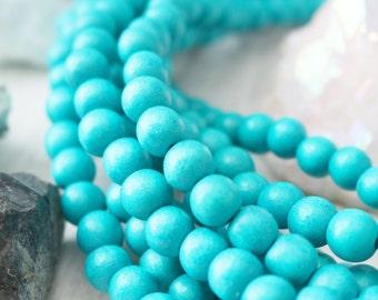 Turquoise Beads, Wood Beads, 8mm Beads, Blue Wood Beads, Light Blue Beads, Turquoise Wood Beads, Jewelry Beads, 8mm Wood Beads,