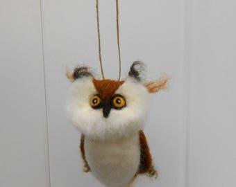 Handmade Owl Ornament, Needle Felted Wool Ornament, Soft Sculpture, Needlefelted Animal, Handmade Christmas Holiday Heirloom Ornament