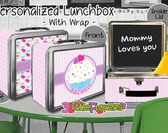 Cupcake Lunchbox - Personalized Metal Lunch Box with Chalkboard inside - Double-sided Tin Lunch Box - Name lunch box - Wrap or NO wrap