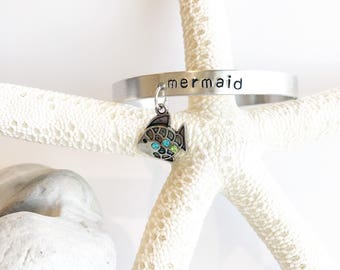 Mermaid with crystal fish charm Hand Stamped Bracelet cuff hypoallergenic aluminum gifts for her surfer beach babe wahine mermaids beachy