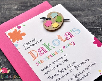Paint Splatter Birthday Party Invitations · A2 Flat · Fuchsia Pink · Painting Party   Artist   Painter's Palette