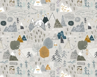 forest adventure map fabric by the yard baby boy fabric organic cotton fabric gray minky jersey