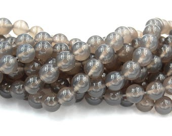 10mm Dove Gray Agate Round  -15 inch strand