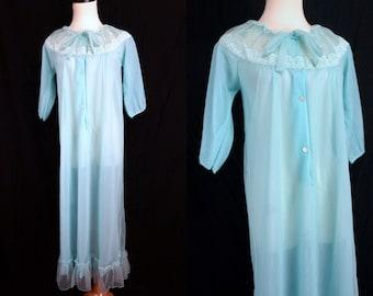 Chiffon Nylon Nightgown Robe Peignoir NOS Aqua Embroidered Double Layer Sheer Medium