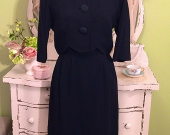 Two Piece Vintage Dress & Jacket Dark Navy Blue 50s Dress w Cropped Scalloped Jacket Classic Vintage Business Wear Day to Evening Dress Set