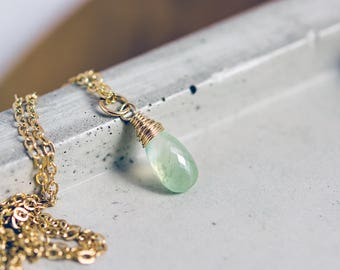 Prehnite Necklace, Gold Necklace, Gemstone Necklace, Prehnite Pendant, Mint Green, Pastel Green, PoleStar, Gemstone Jewelry, Wedding Jewelry