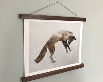 Poster Hanger, Print, Wall Hanging, Picture Frame, Wood Wall Art, Magnetic Poster Hanger, Picture Hanger, Wall Print, Wood Frame, Walnut
