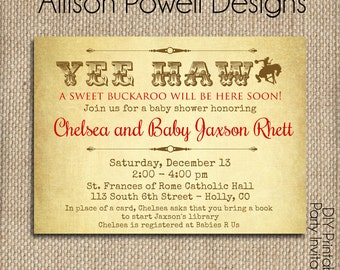 Boy or Girl Western Baby Shower Invitation - Cowboy - Cowgirl Print your own or printed for you