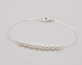 Extra Long Pearl Bracelet, Extended Sizes Bracelet, Sterling Silver Large Bracelet, Plus Size Pearl Bar Bracelet 0308