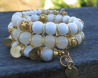 White and gold Dreams Memory Wire Bracelet - made with Gemstones and Antique Gold-plated beads, spacers and charms