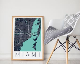 Miami Map Poster Print Wall Art/Miami Florida Gift/Modern Map Decor for Office and Home/Urban Map/Miami City Map Print/ Miami Map Poster