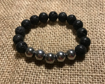 Essential Oil Diffuser Bracelet with Pewter Beads
