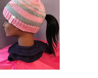 Pink and Gray Stripped Ponycap