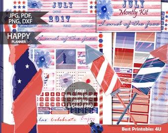 July 2017 Happy Planner Monthly Kit/Patriotic Monthly view/Mambi July Planner Kit/Happy Planner Stickers Printable/July Kit/Cutfiles HP-04