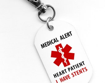 Medical Alert HEART PATIENT I Have Stents 1 x 2 inch Aluminum Core Dog Tag 2-Sided