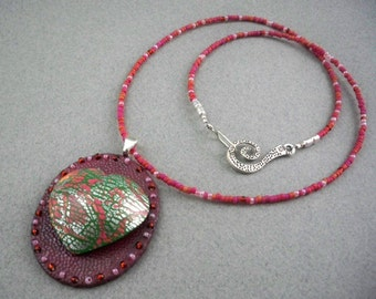 Heart necklace clay pendant and beads handmade polymer deep red, silver and green
