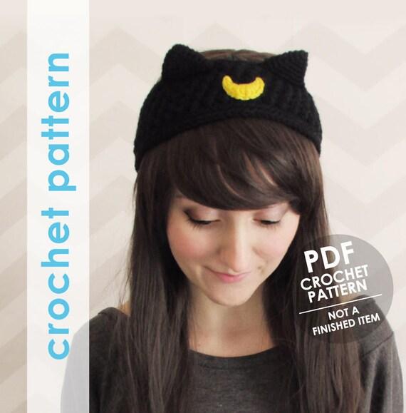 Crochet pattern cat ears headband sailor moon ear warmer
